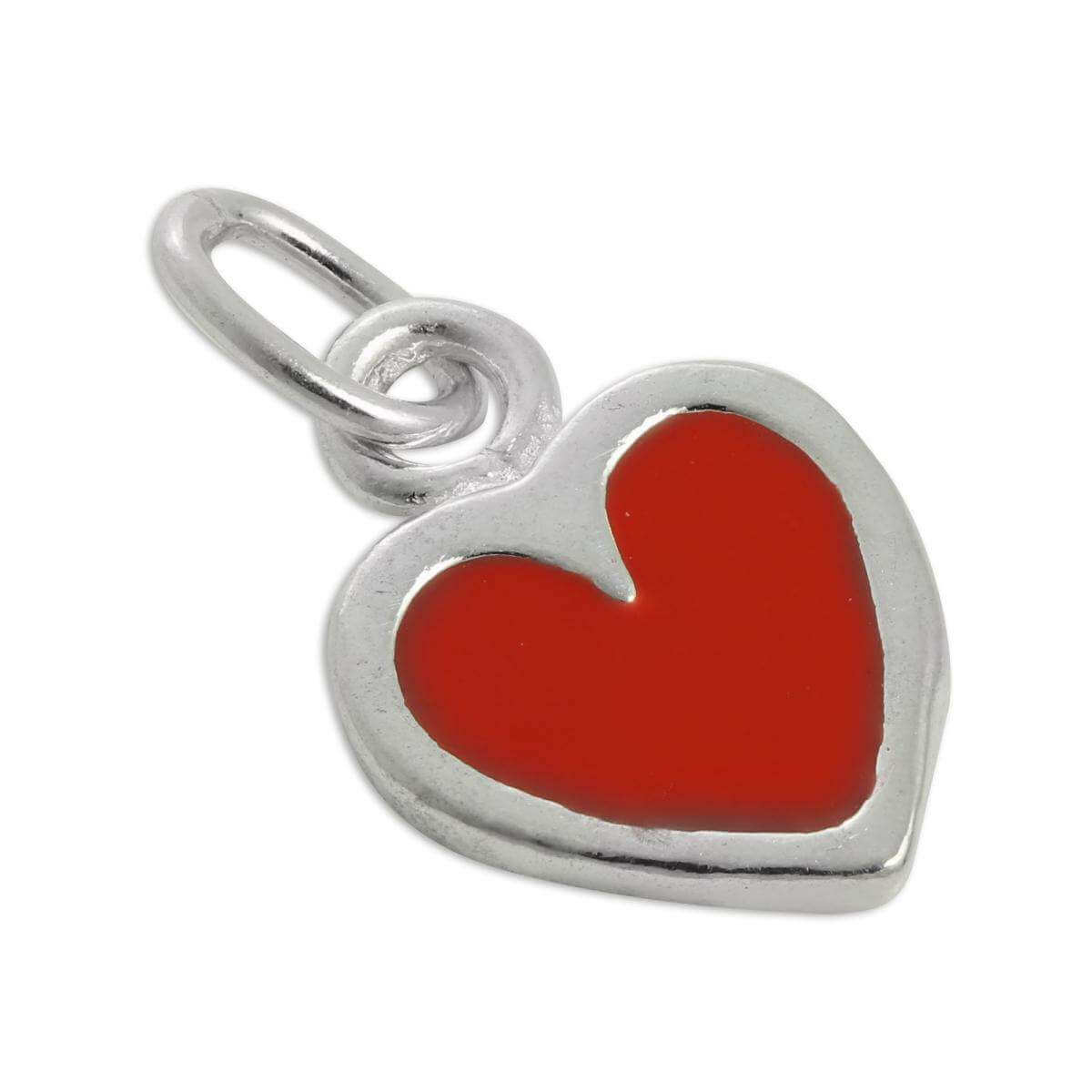 Sterling Silver & Red Enamel Heart Charm