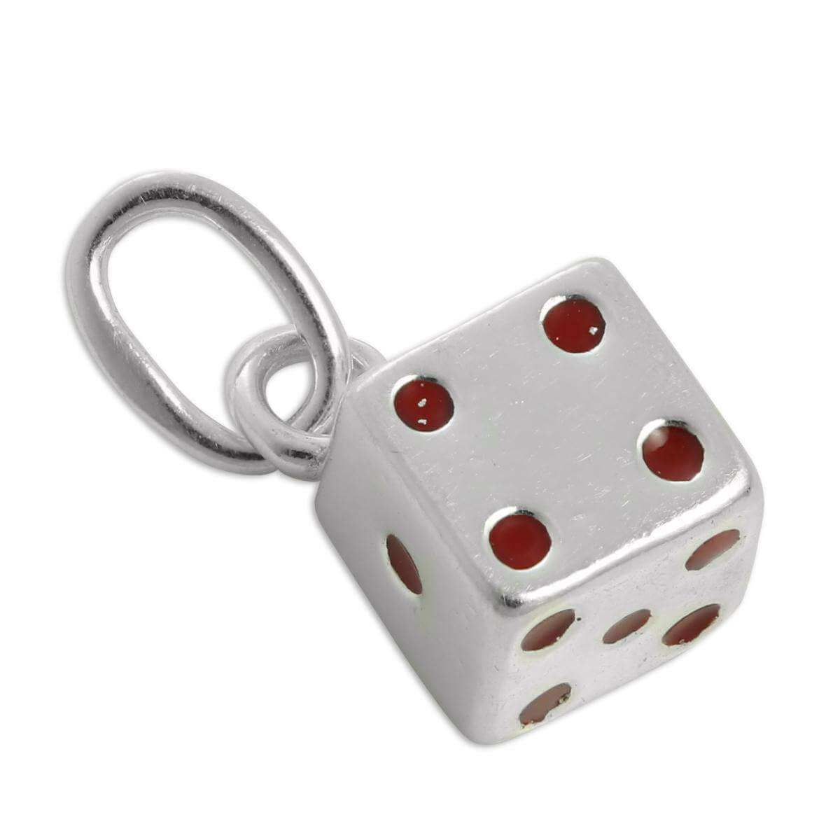 Sterling Silver & Red Enamel Dice Charm