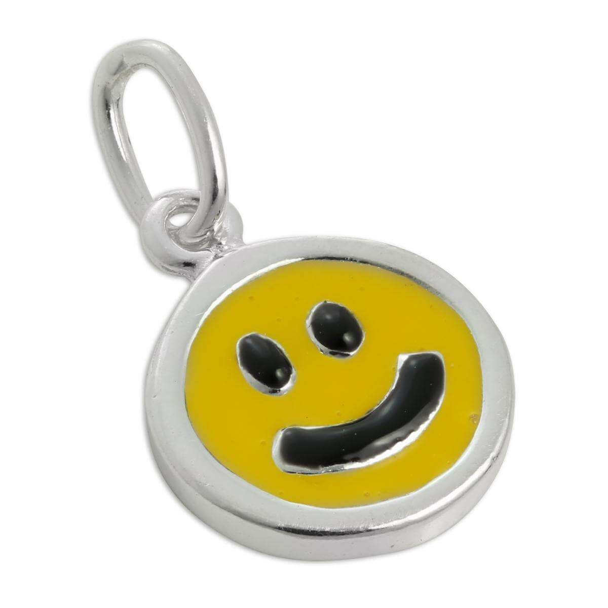 Sterling Silver & Yellow Enamel Smiley Face Charm