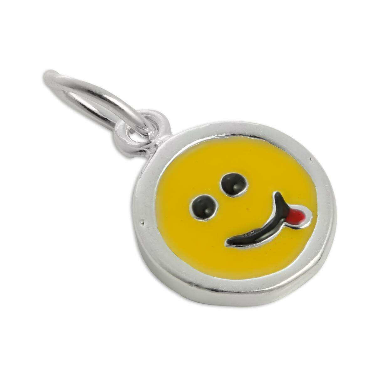 Sterling Silver & Yellow Enamel Sticking Out Tongue Smiley Face Charm