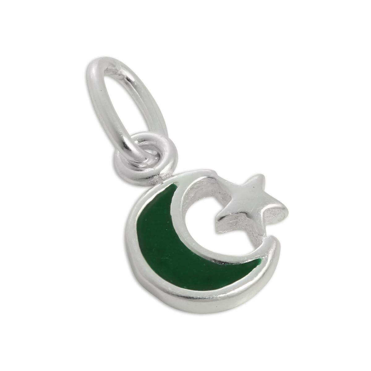 Tiny Sterling Silver & Green Enamel Crescent Moon & Star Charm