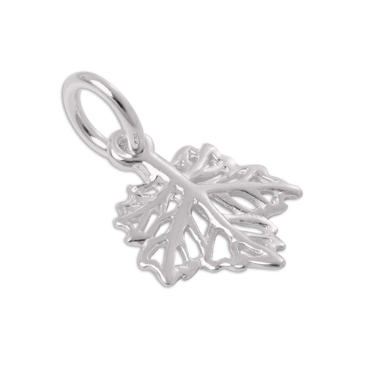 Sterling Silver Filigree Leaf Charm