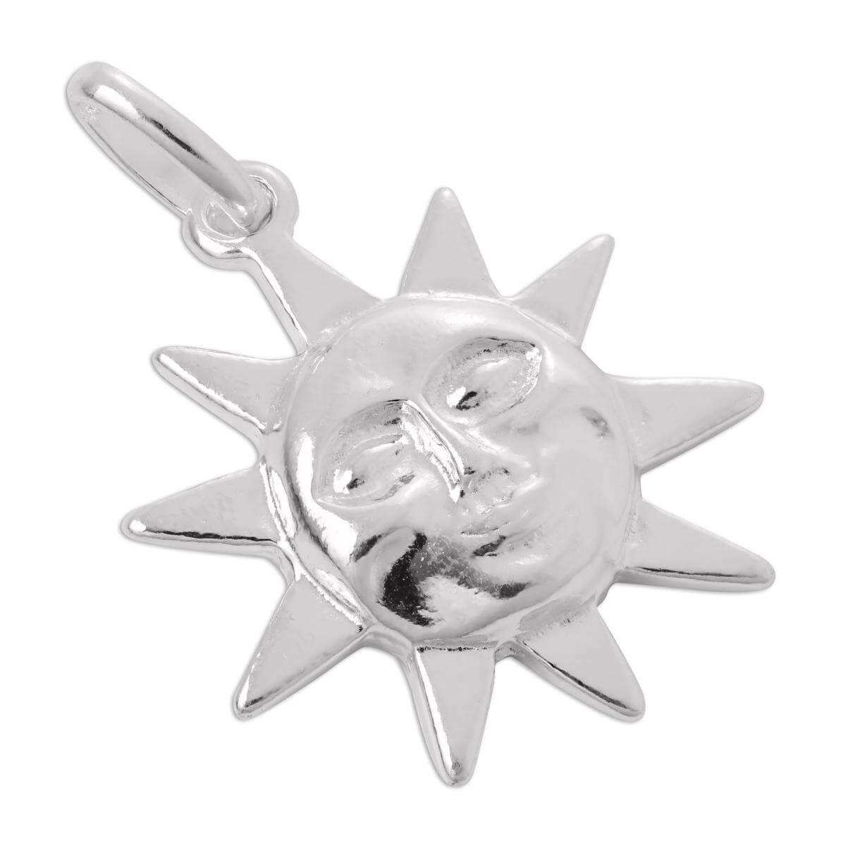 Sterling Silver Sun with Face Charm