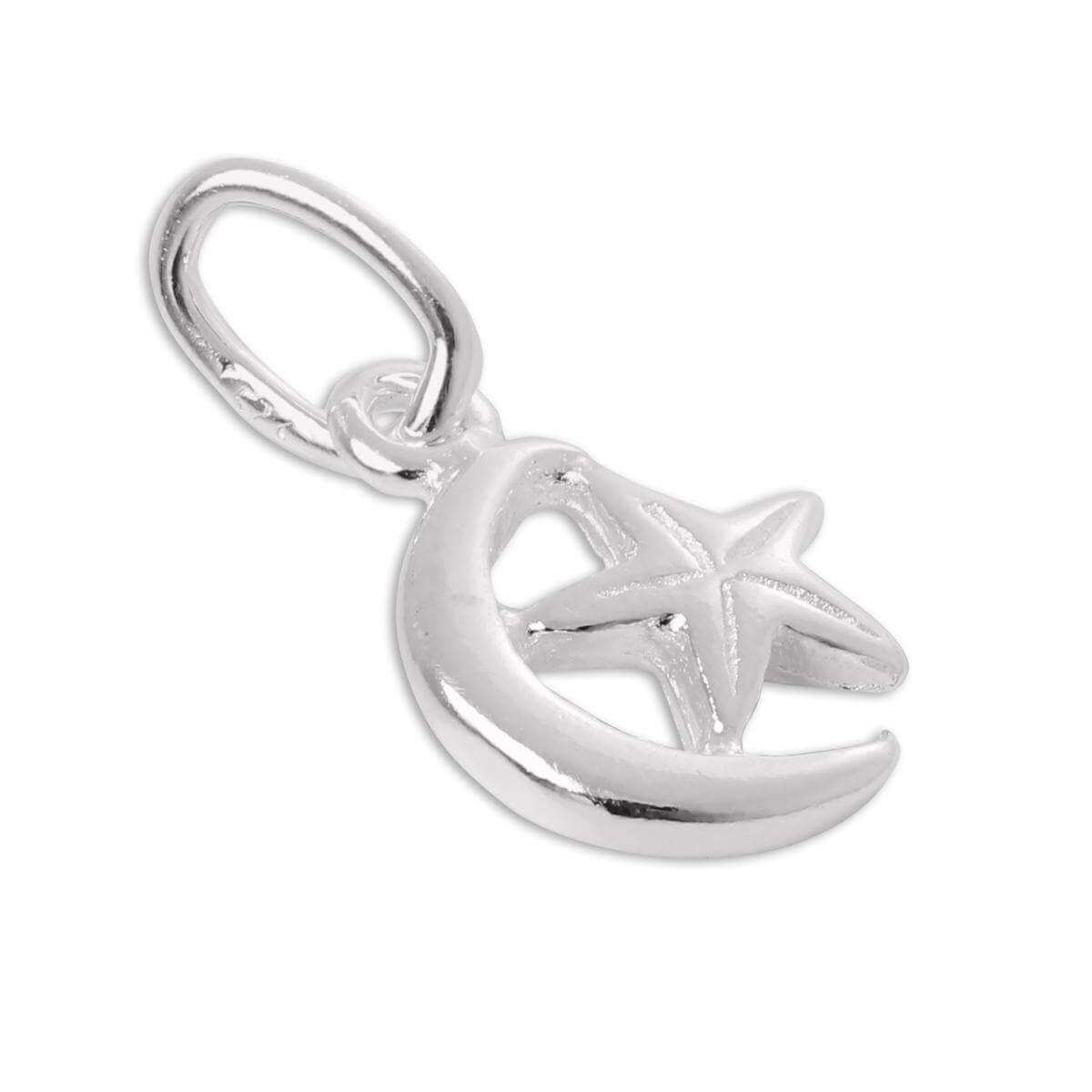 Tiny Sterling Silver Crescent Moon & Star Charm