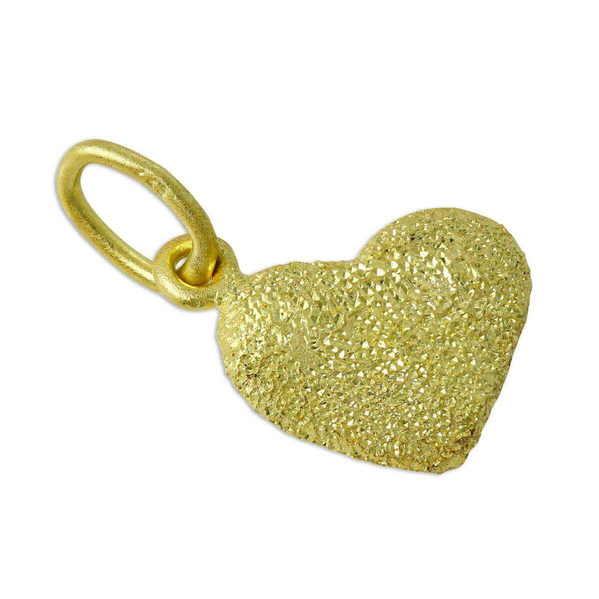 Frosted Gold Dipped Sterling Silver Puffed Heart Charm