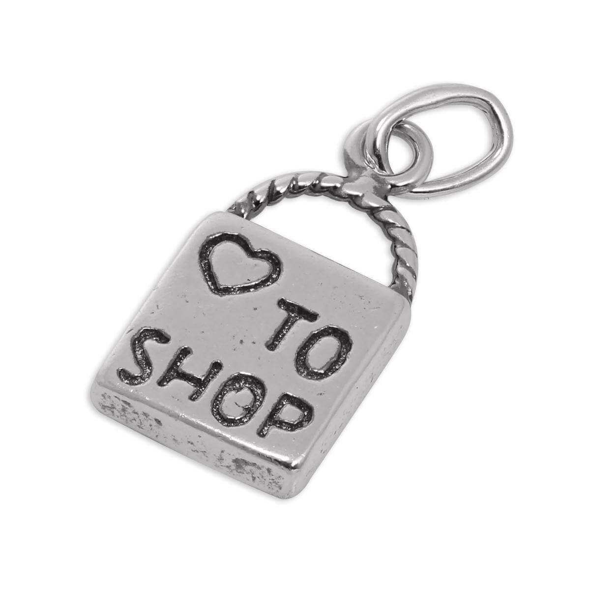 Sterling Silver I Love to Shop Bag Charm