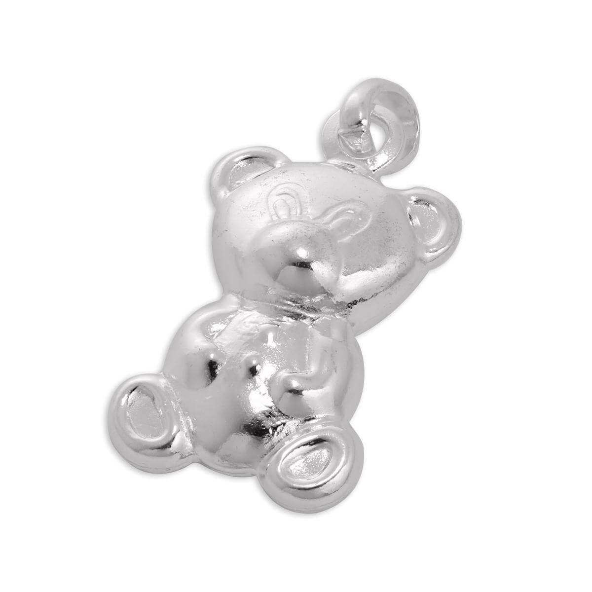 Large Double Sided Sterling Silver Teddy Bear Charm