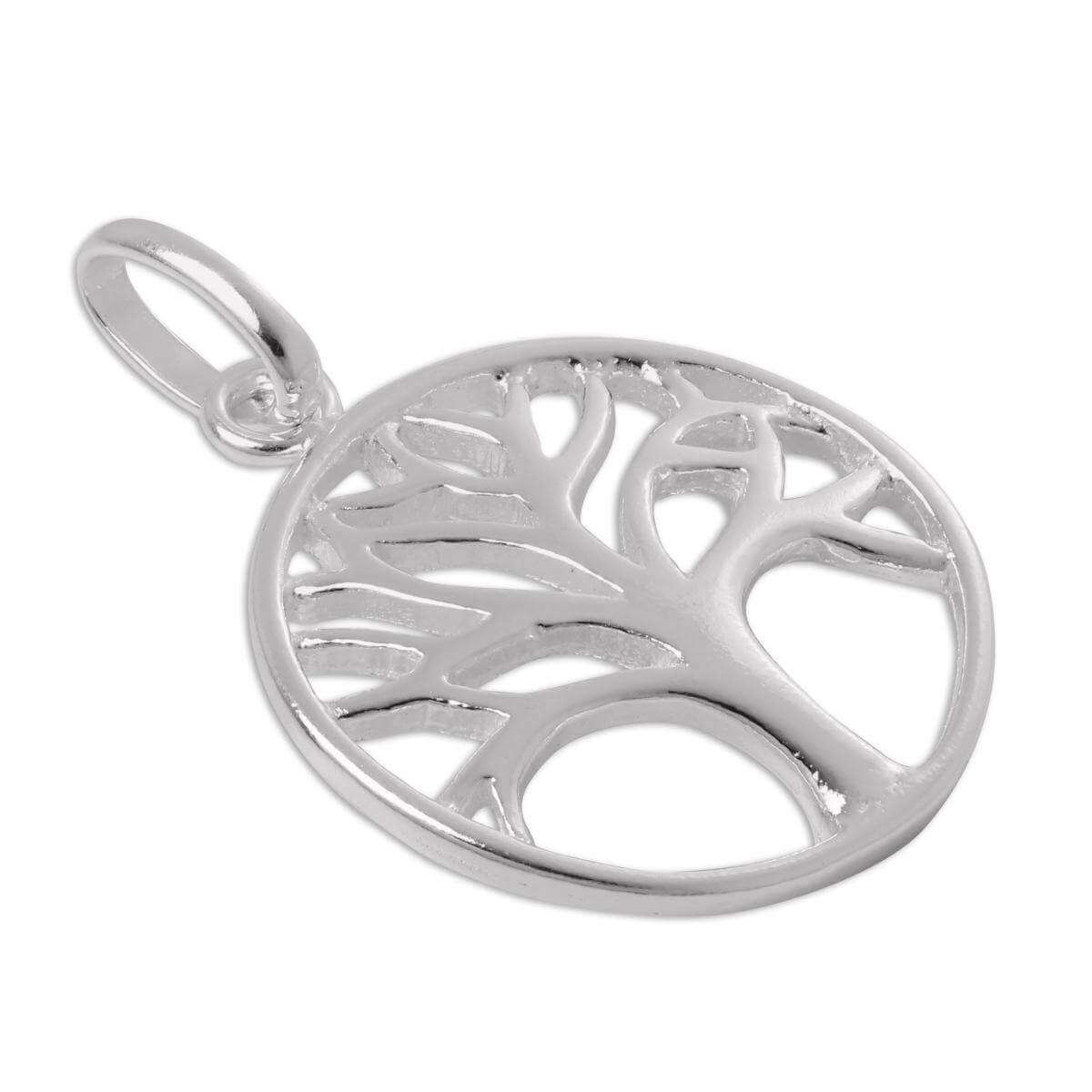 Sterling Silver Filigree Tree Disc Charm