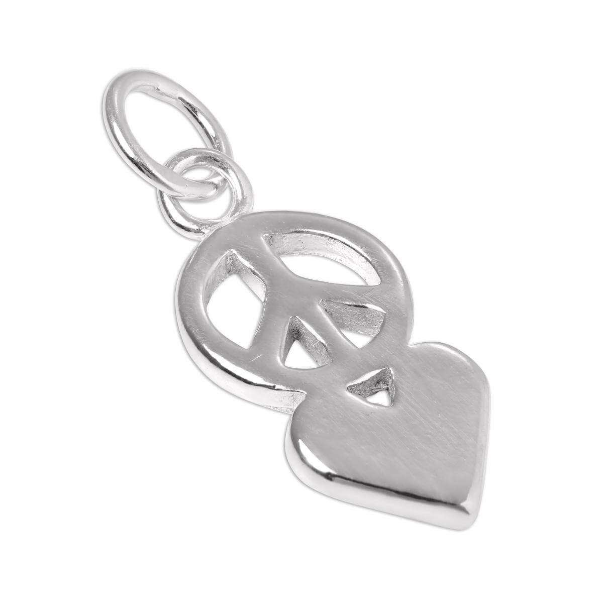 Sterling Silver Peace Symbol & Heart Charm