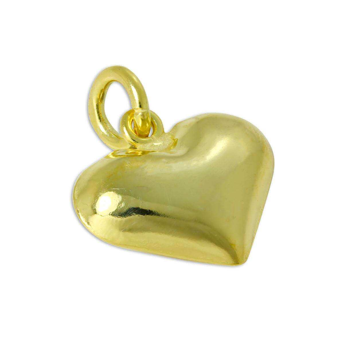 Gold Plated Sterling Silver Puffed Heart Charm