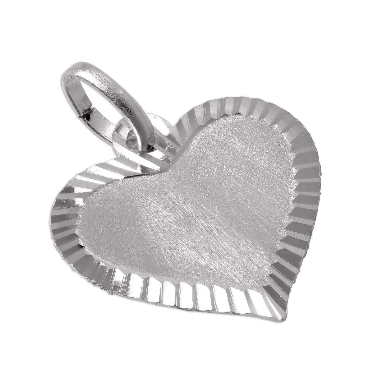 Large Edged Sterling Silver Heart Pendant