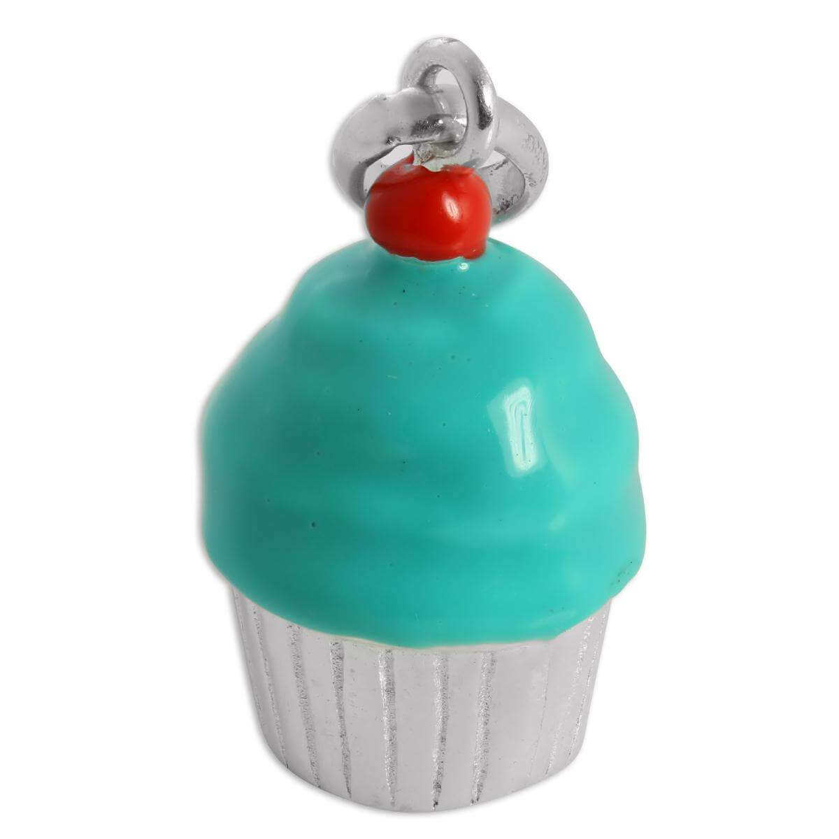 Large Sterling Silver & Enamel Cup Cake Charm