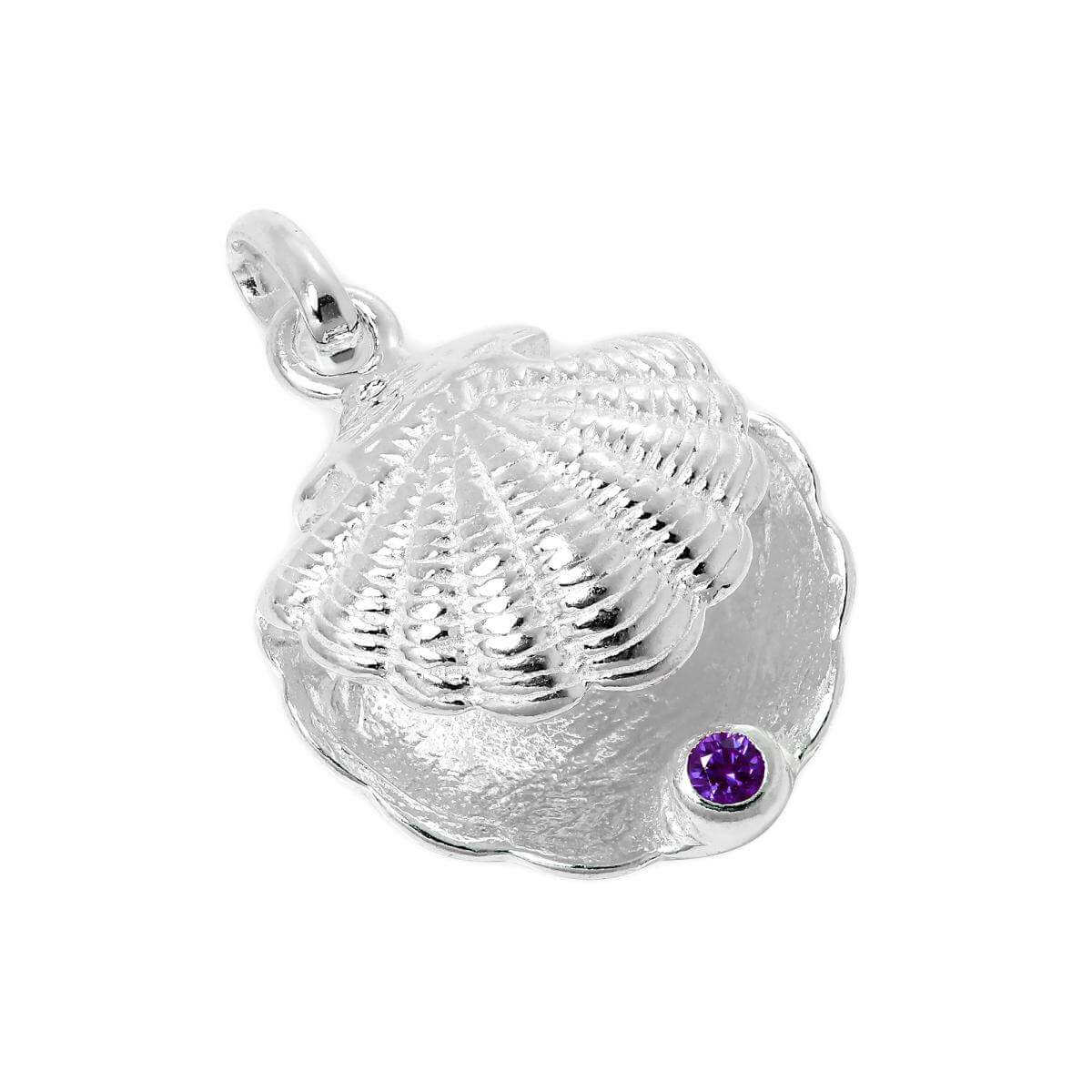 Sterling Silver Oyster Shell with CZ Crystal Purple Birthstone Charm