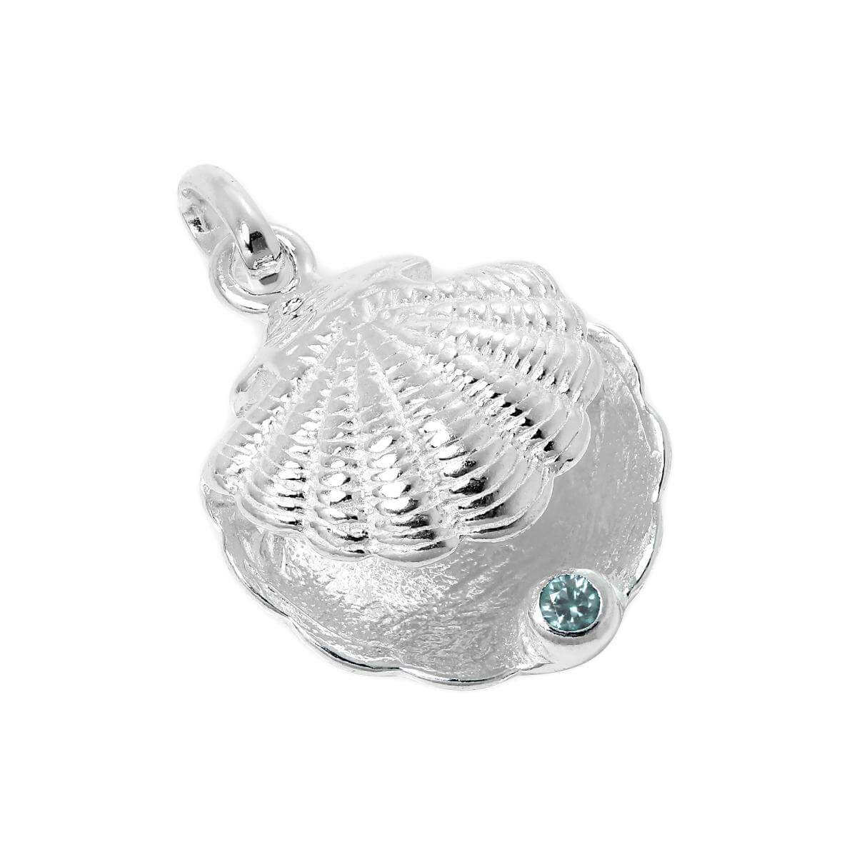 Sterling Silver Oyster Shell with CZ Crystal Aquamarine Birthstone Charm