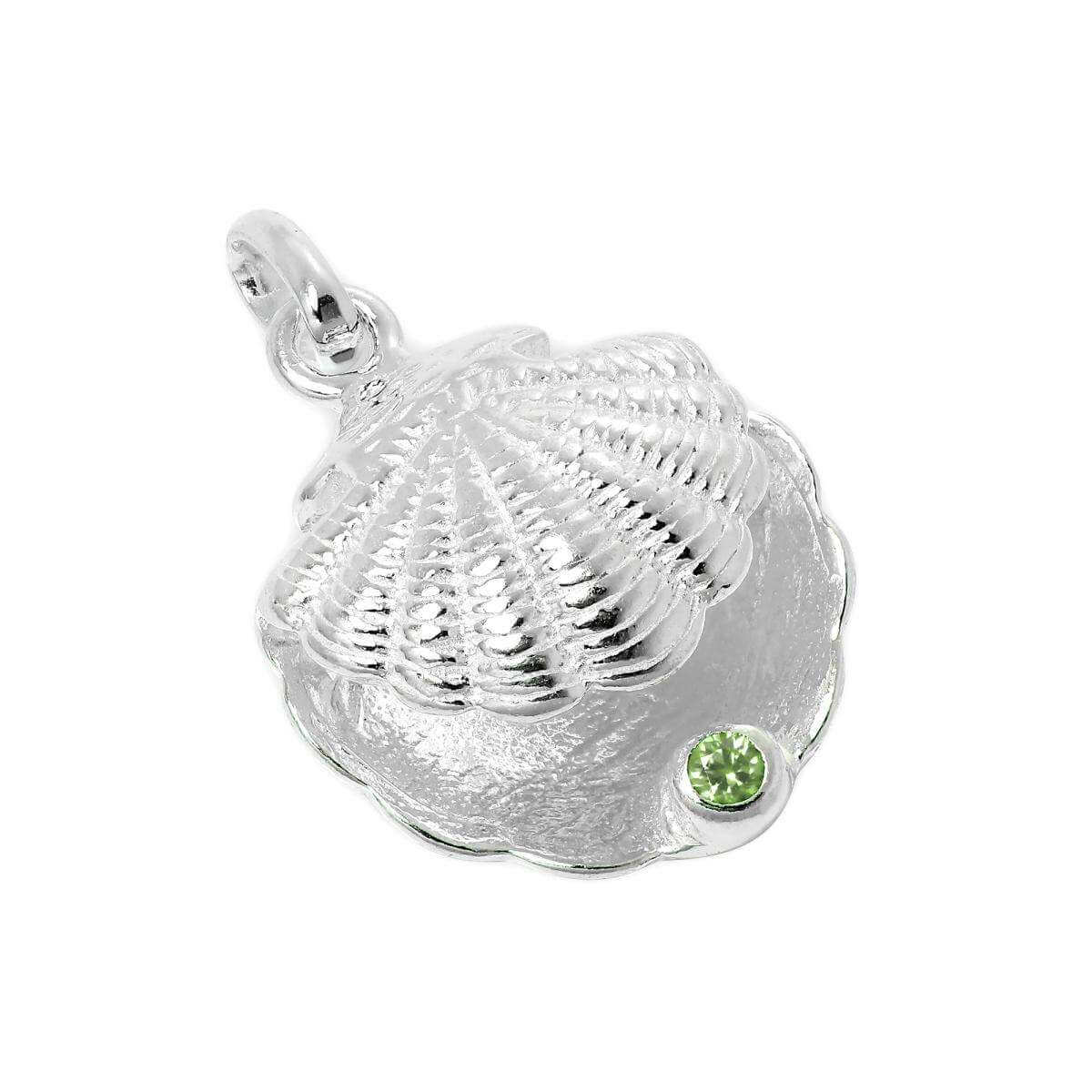 Sterling Silver Oyster Shell with CZ Crystal Peridot Birthstone Charm