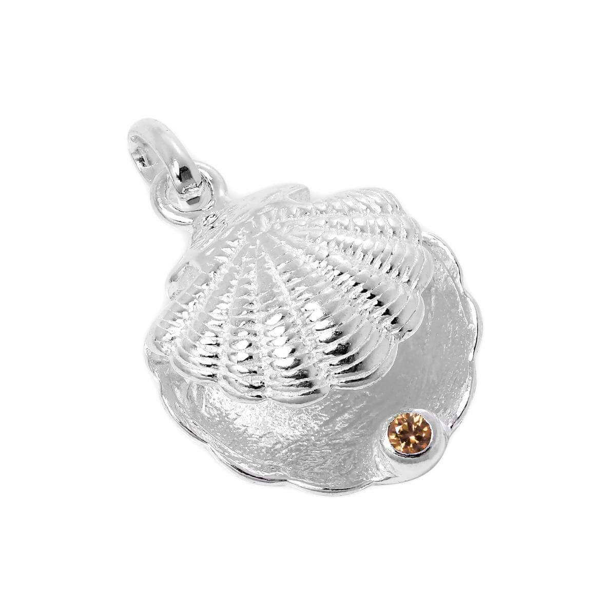 Sterling Silver Oyster Shell with CZ Crystal Topaz Birthstone Charm