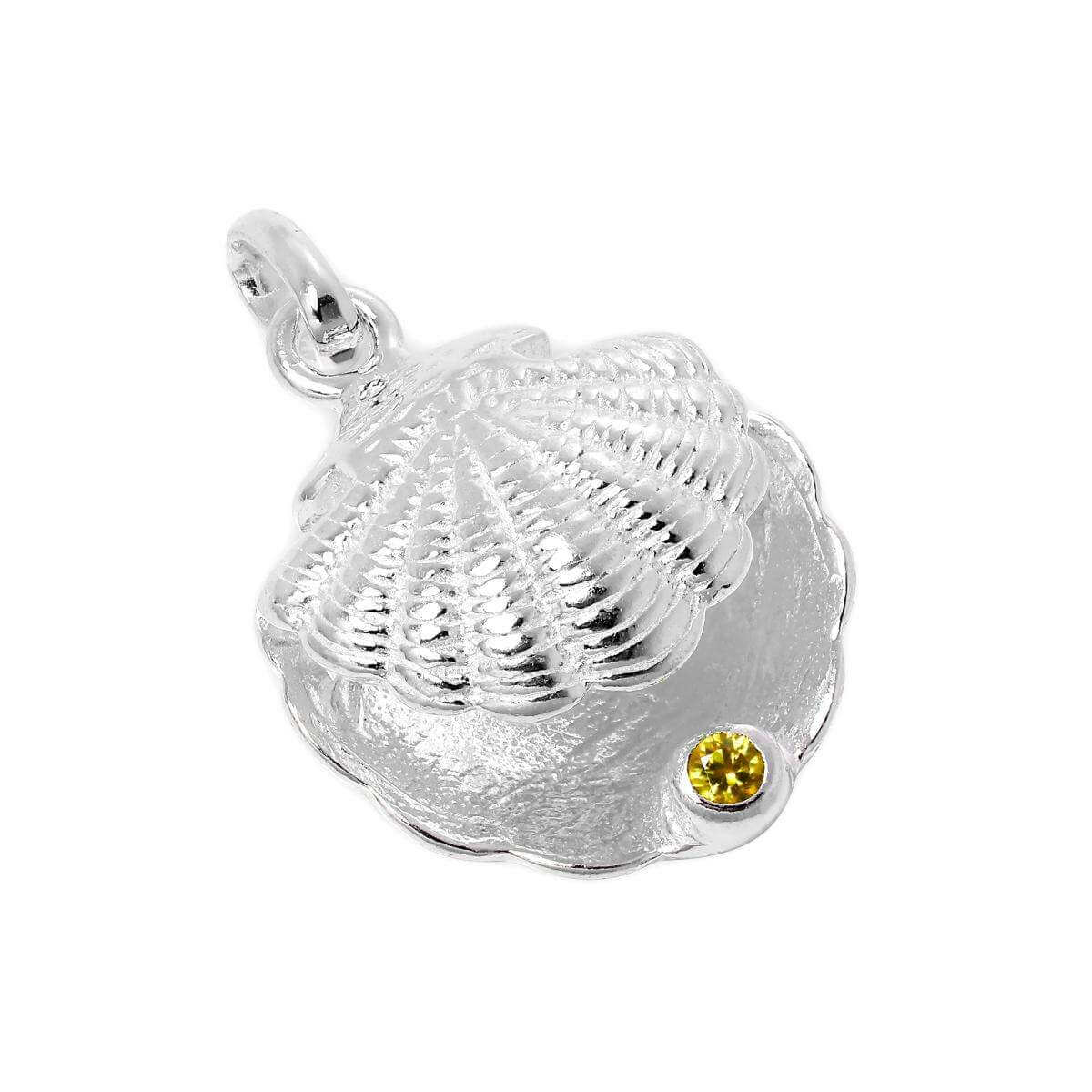 Sterling Silver Oyster Shell with CZ Crystal Citrine Birthstone Charm