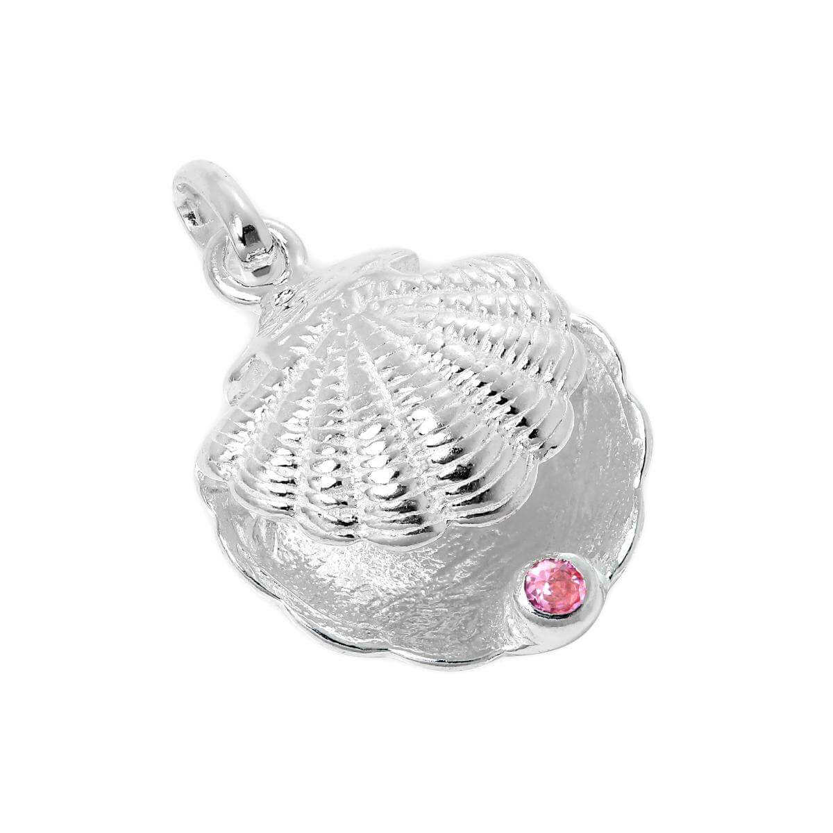 Sterling Silver Oyster Shell with CZ Crystal Tourmaline Birthstone Charm