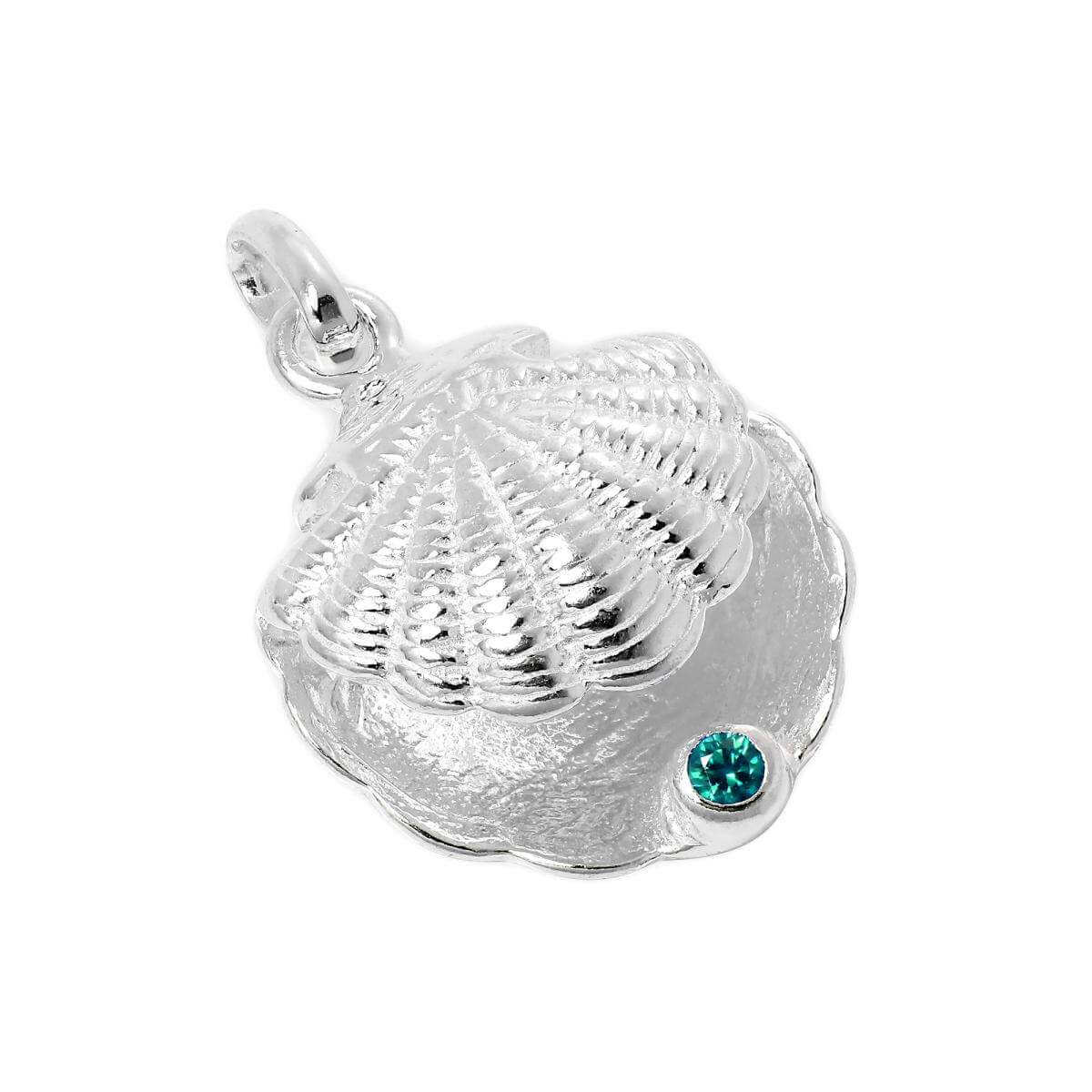 Sterling Silver Oyster Shell with CZ Crystal Blue Zircon Birthstone Charm