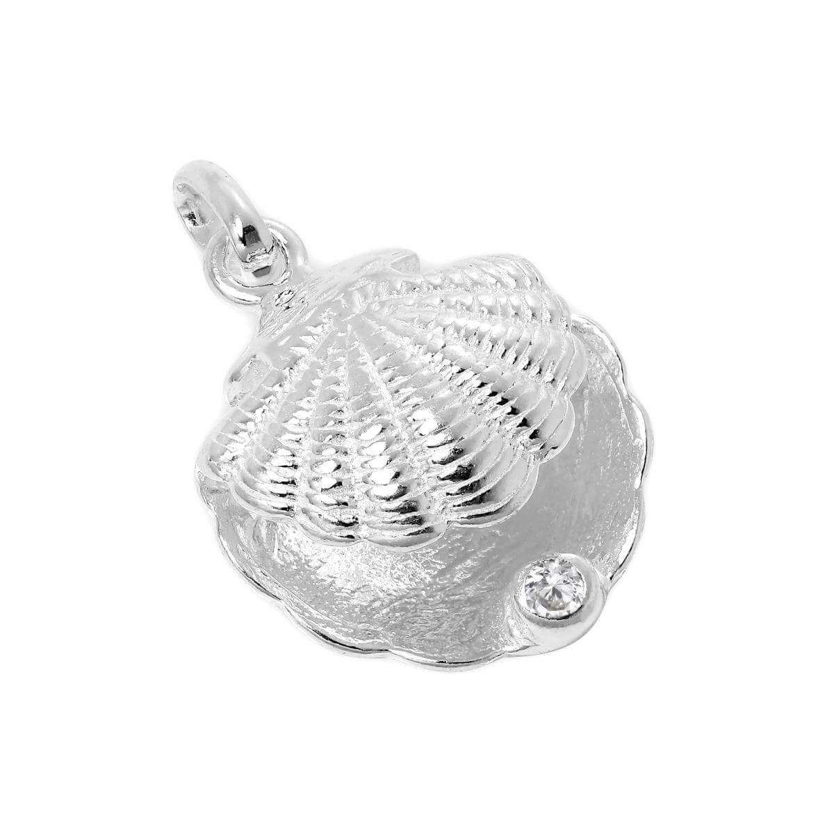 Sterling Silver Oyster Shell with CZ Crystal Clear Birthstone Charm