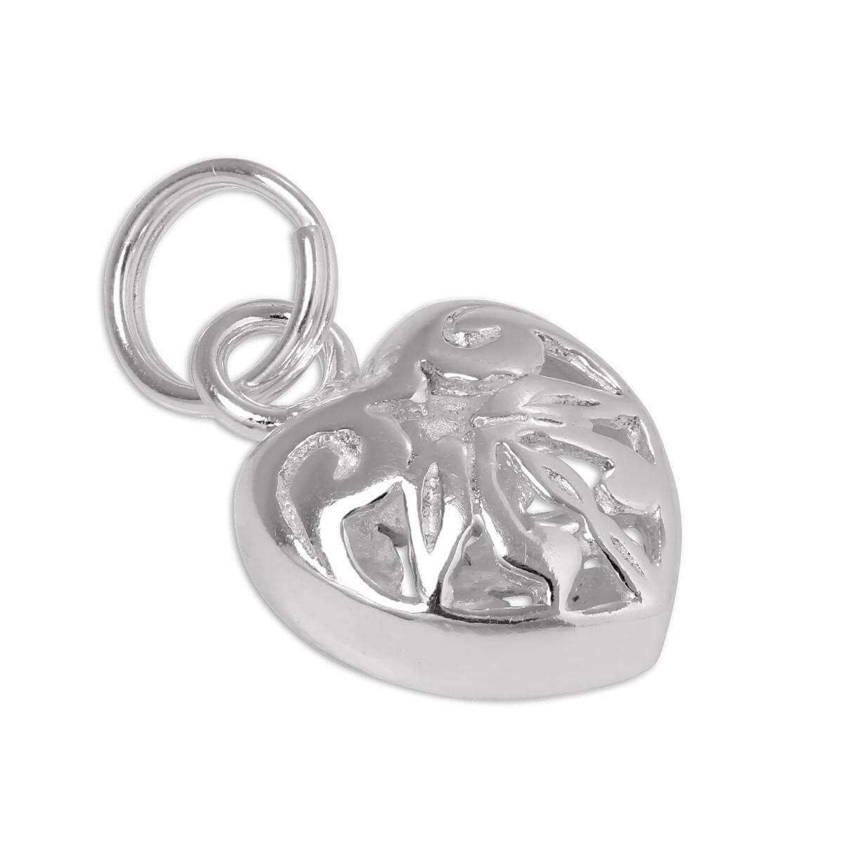 Sterling Silver Open Puffed Heart Charm