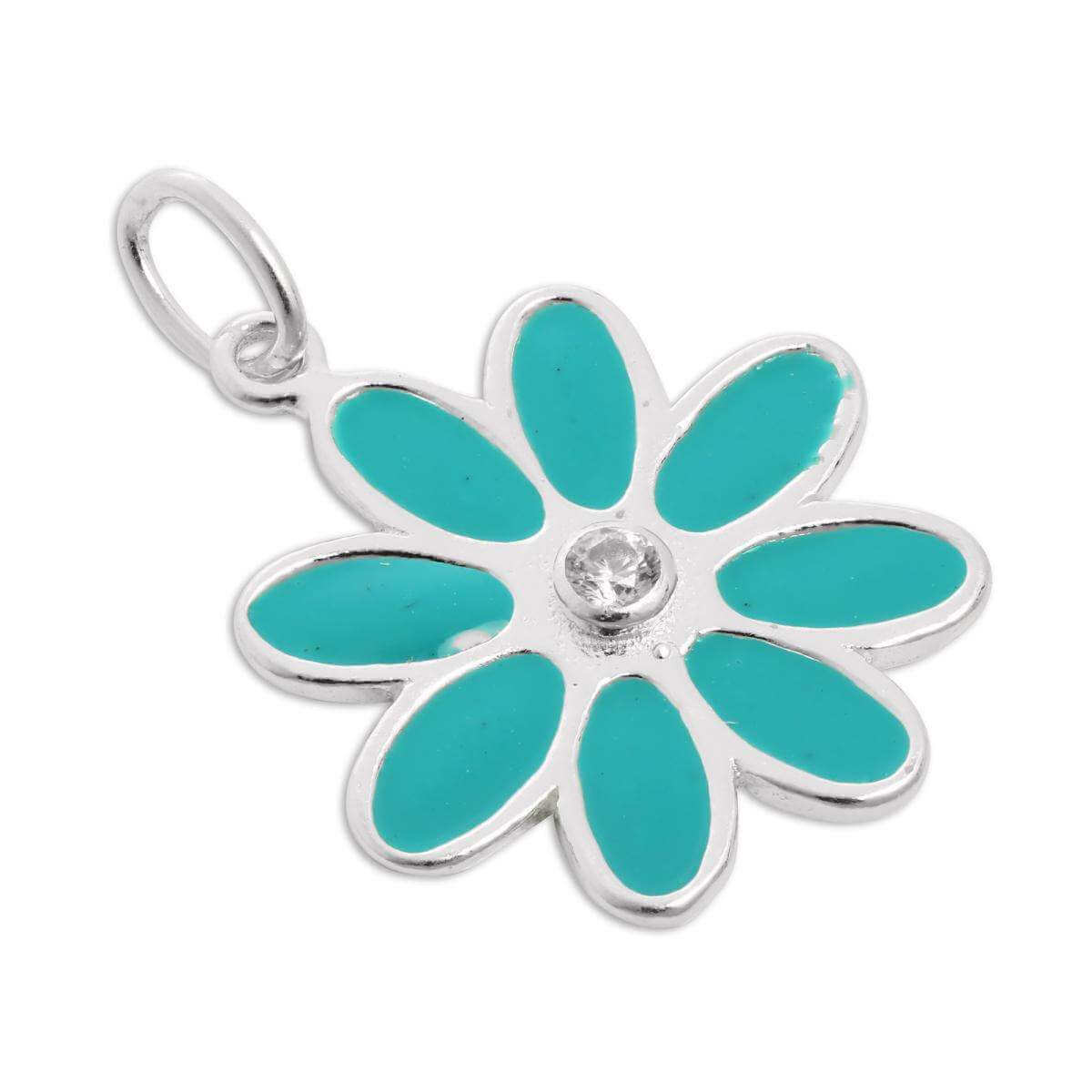 Sterling Silver & Turquoise Enamel Flower Charms