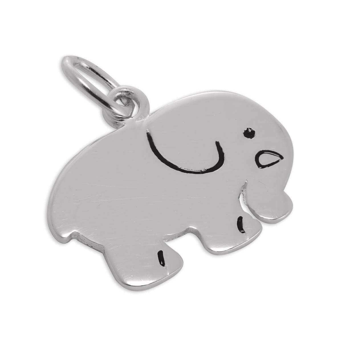 Flat Sterling Silver Elephant Charm