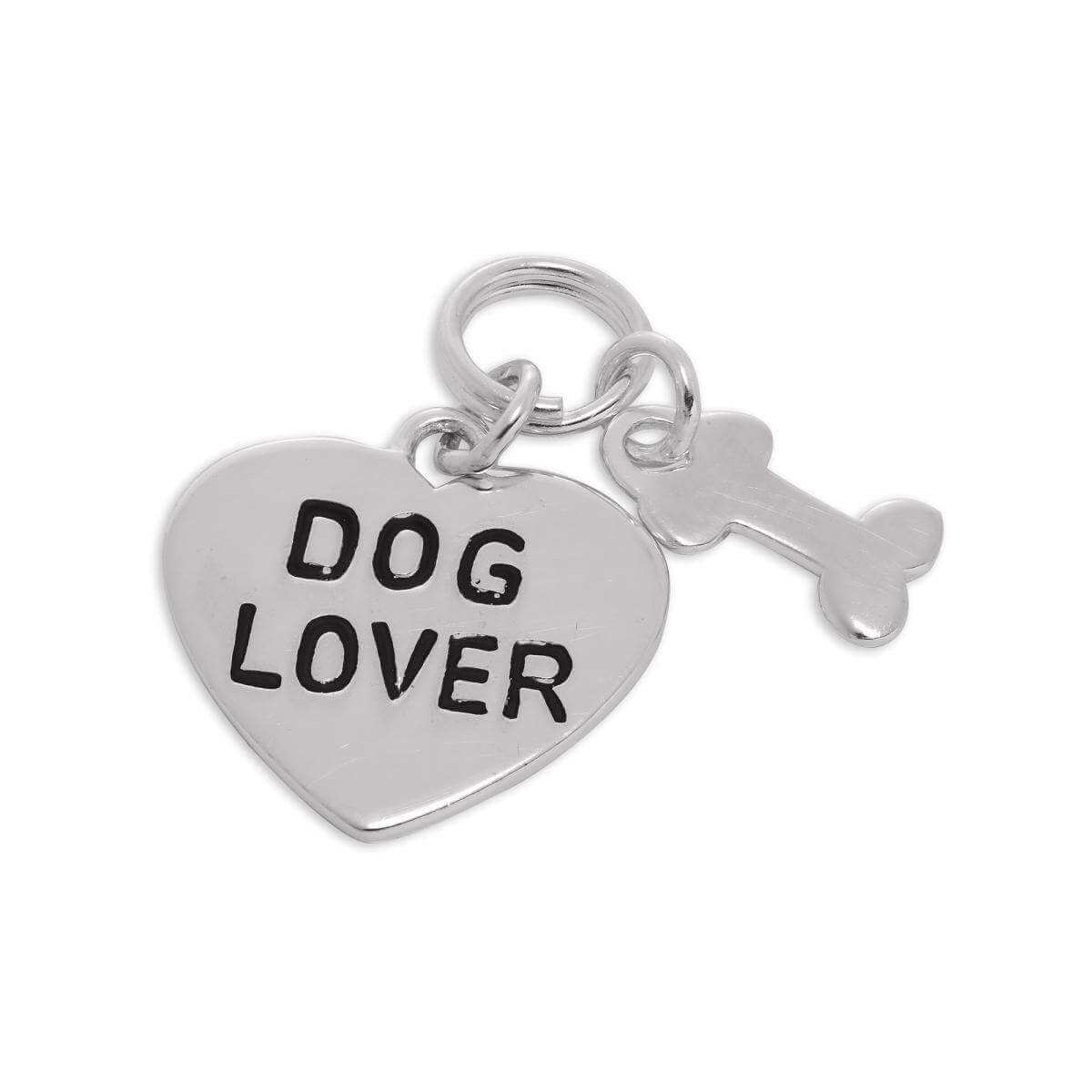 Sterling Silver Dog Lover Heart & Bone Charm
