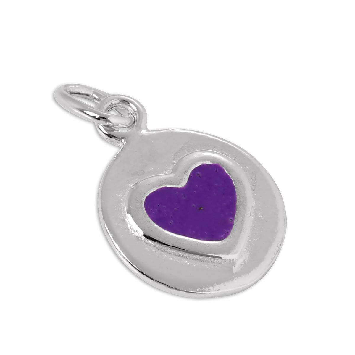 Sterling Silver & Purple Enamel Heart Tag Charm
