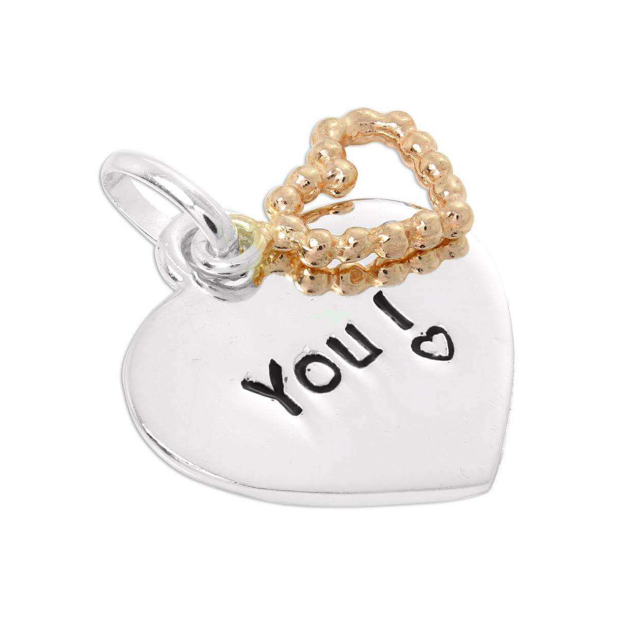 Sterling Silver Love You Heart Tag with Rose Open Heart