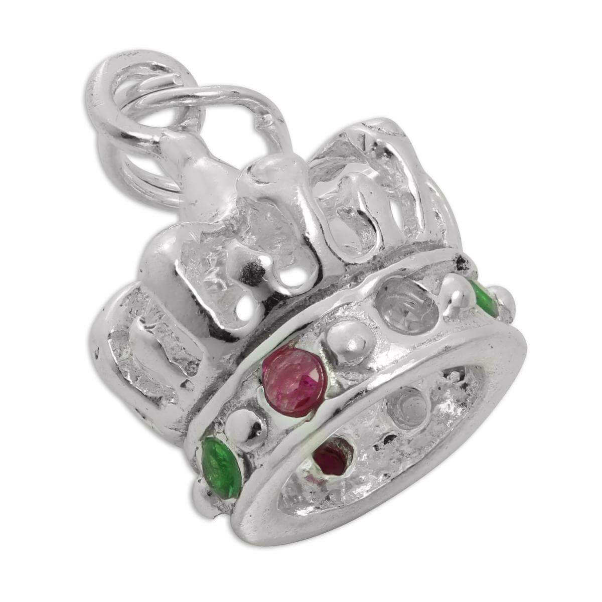 Sterling Silver & CZ Crystal Royal Crown Charm