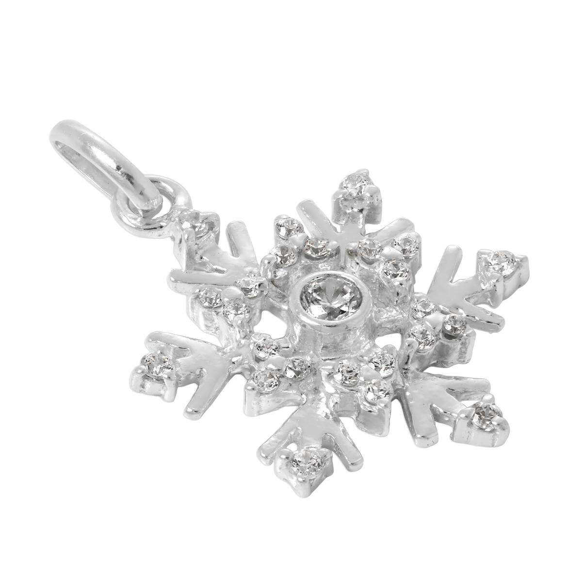 Large Sterling Silver & CZ Crystal Snowflake Charm