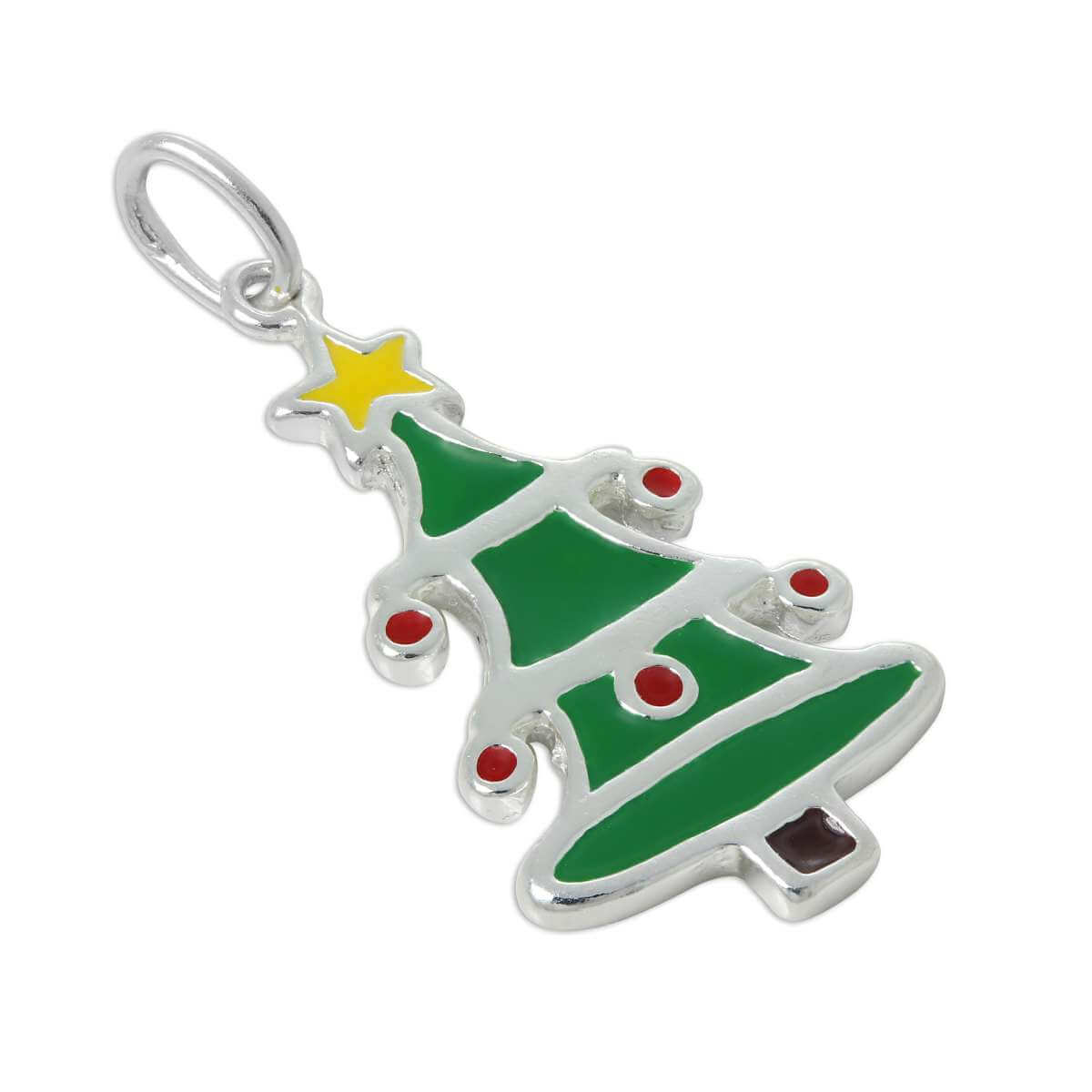 Sterling Silver Enamelled Christmas Tree Charm