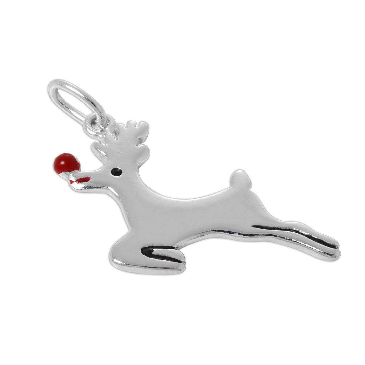 Sterling Silver Rudolph the Red Nose Reindeer Charm