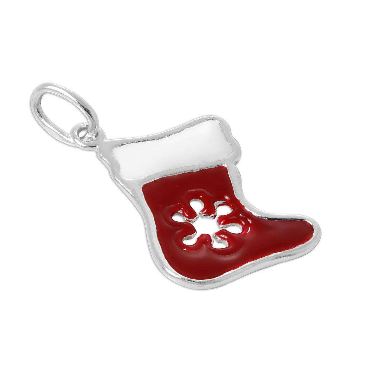 Sterling Silver Enamelled Red Christmas Stocking Charm