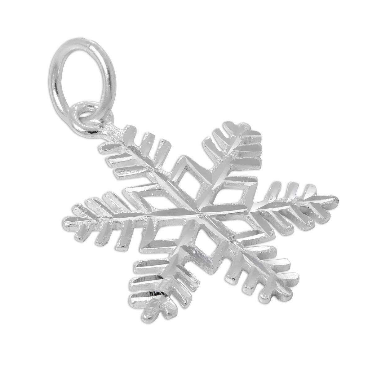 Large Sterling Silver Diamond Cut Snowflake Charm