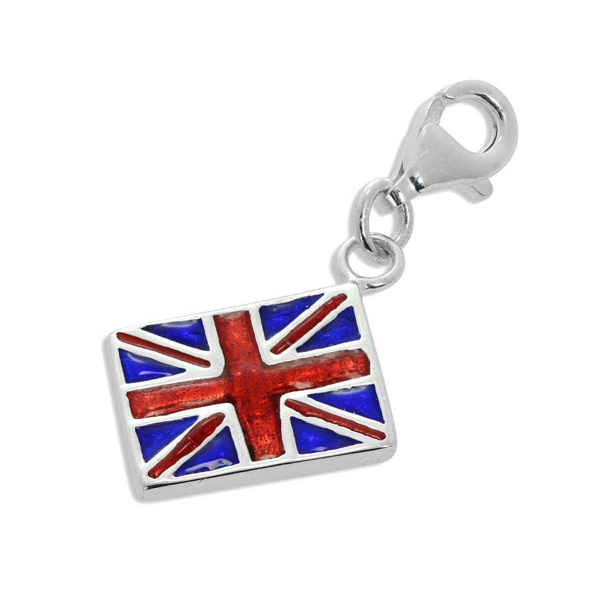 Sterling Silver Enamelled Union Jack Flag Clip on Charm