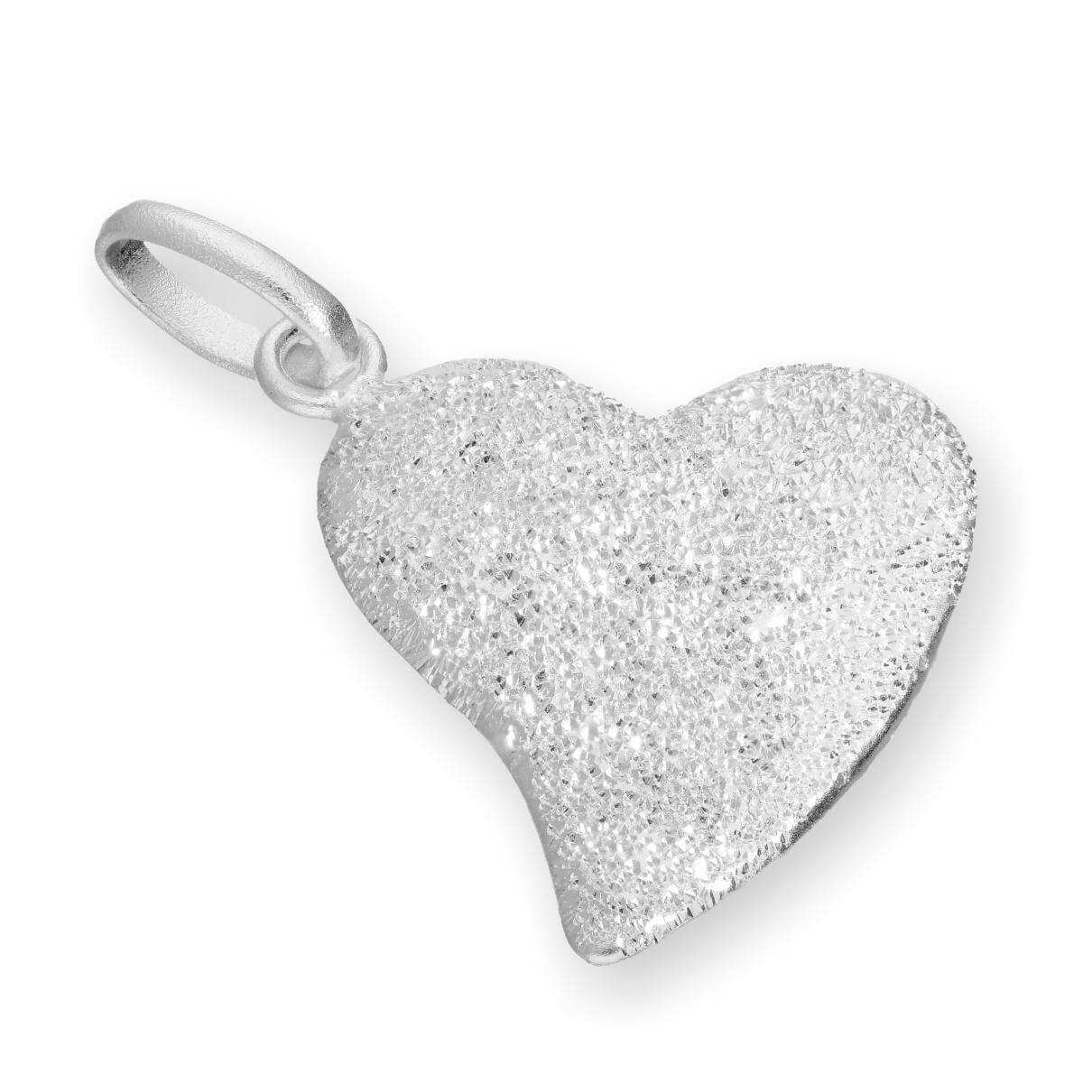 Sterling Silver Frosted Heart Charm