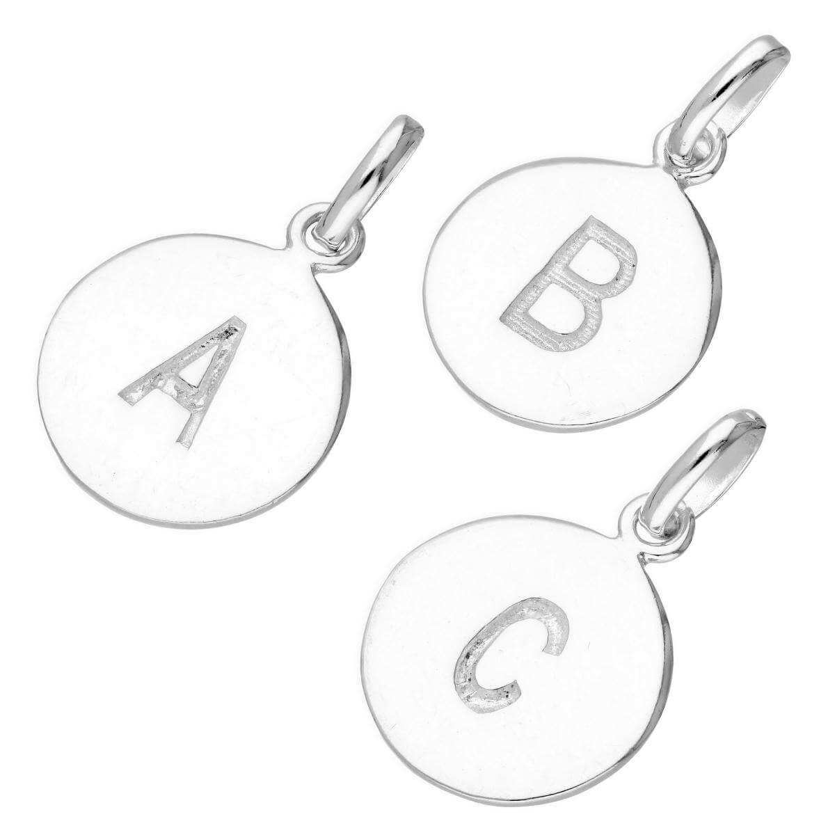 Sterling Silver Engravable Round Alphabet Letter Charm A-Z