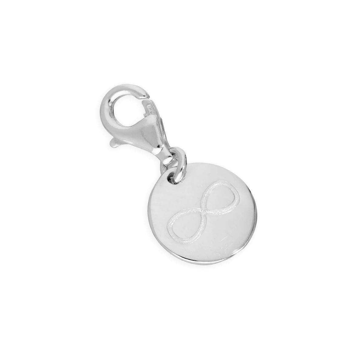 1fd311bda76 Sterling Silver Round Infinity Symbol Clip on Charm