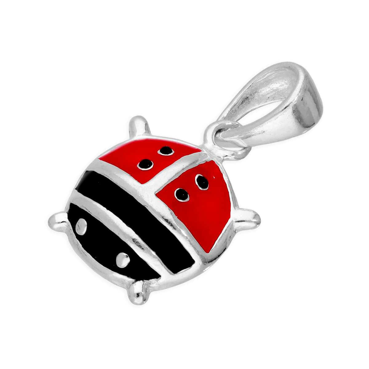 Large Sterling Silver & Coloured Enamel Ladybird Charm