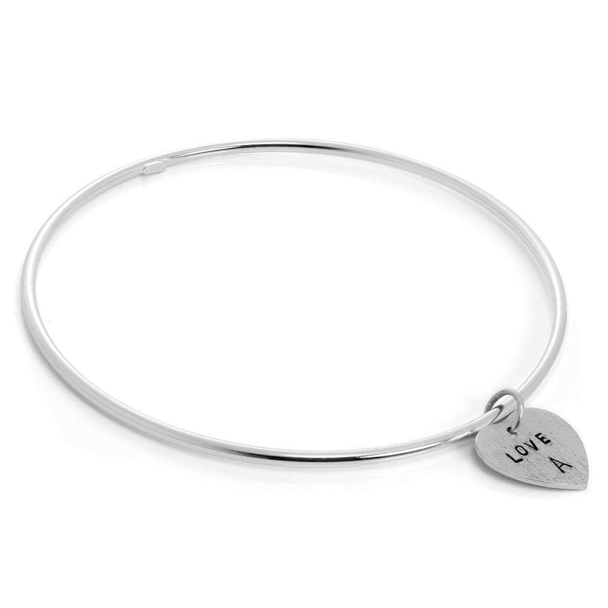 Sterling Silver Polished Bangle with Hand Stamped Textured Heart Charm