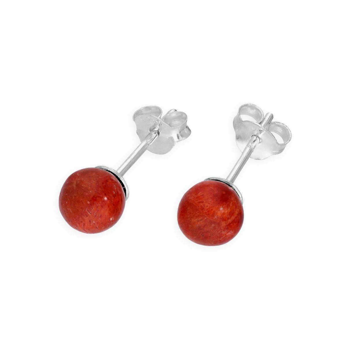 Sterling Silver Sponge Coral Stud Earrings
