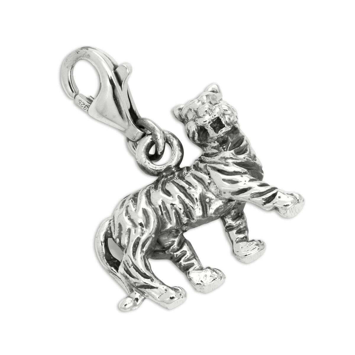 Sterling Silver Solid 3D Tiger Clip on Charm