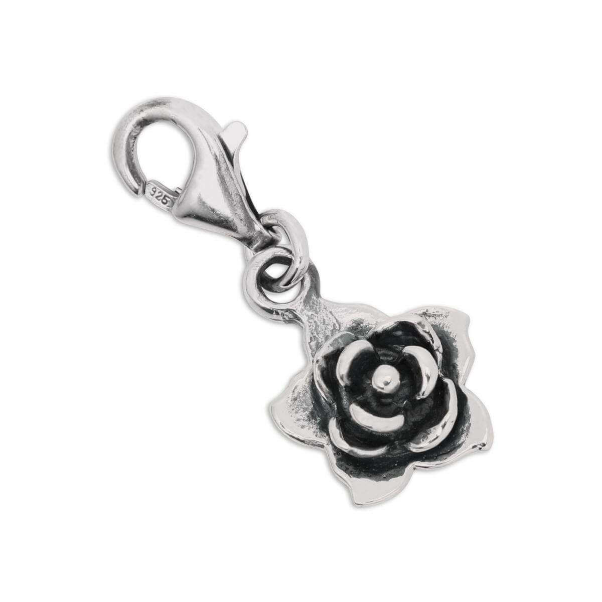 Sterling Silver Rose Flower Clip on Charm