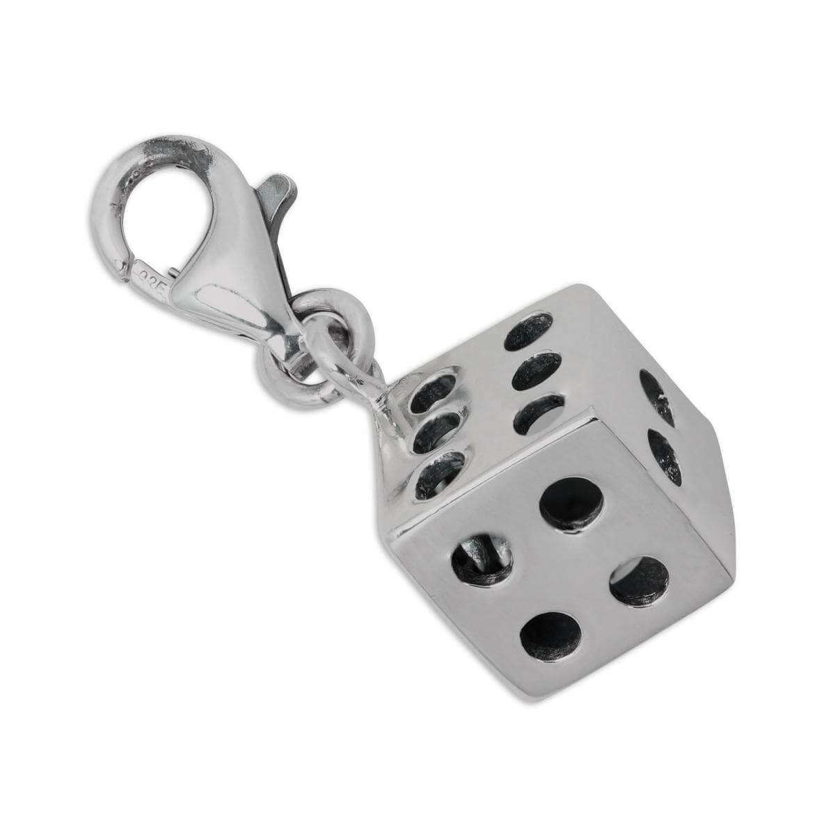 Sterling Silver Hollow Seethrough Dice Clip on Charm
