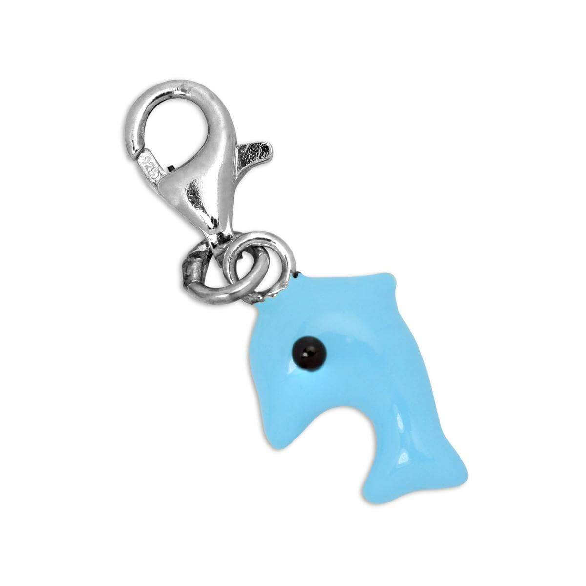 Sterling Silver & Blue Enamel Jumping Dolphin Clip on Charm