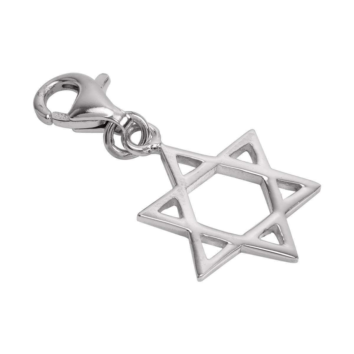 Sterling Silver Star of David Clip on Charm