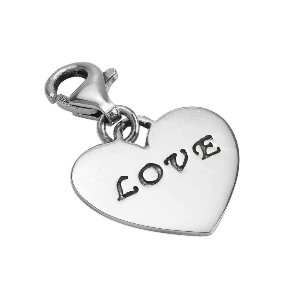 Sterling Silver Love Heart Clip on Charm