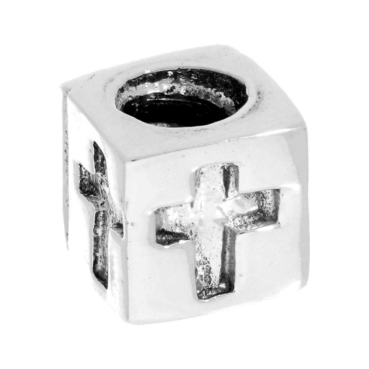 Sterling Silver Cross Cube Bead Charm